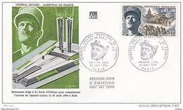 L4T063 FRANCE 1969 FDC Général Leclerc Maréchal De France 0,45+0,10 Paris 23 08 1969/ Env. Illus. - FDC