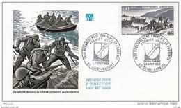 L4T064 FRANCE 1969 FDC Débarquement En Provence 0,45F Saint-Raphael 23 08 1969/ Env. Illus - FDC