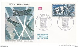 L4T068 FRANCE 1969 FDC Normandie Niemen 0,45F Paris 18 10 1969/ Env. Illus. - FDC