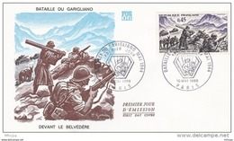 L4T090 FRANCE 1969 FDC Bataille Garigliano 0,45F Paris 10 05 1969/ Env. Illus. - FDC