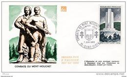 L4T091 FRANCE 1969 FDC Combat Du Mont Mouchet Bataille Garigliano 0,45F Paris 07 06 1969/ Env. Illus. - FDC