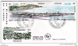 L4T335 SAINT PIERRE MIQUELON 1996 Triptyque FDC Le Cap 3,00f Le Village 15,50f Saint-Pierre 14 08 1996 /envel.  Illus. - FDC