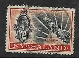 Nyasaland, GVR, 1/=, Leopard, Used, SALIMA 14 JUL 38, C.d.s. - Nyassaland (1907-1953)