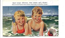 """A La Plage. Deux Enfants Dans L'eau:"""" Quel Temps Délicieux, Bien Mieux Qu'à L'école"""" - Taylor"""