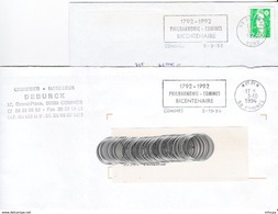 L4U225 NORD 2 Secap PP Comines Philarmonie Bi Centaine 1993 1994 / 2 Env.  Ent. - Marcophilie (Lettres)