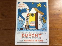 Carte De Voeux 1972 Grand Format (19,5x27cm) Signée Jean Effel Pour Dupont Sanitaire-chauffage - Effel