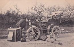 D72  Circuit De La Sarthe 1906   Les Petites Misères Du Chauffeur ( Réparation D'un Ressort )  .....carte Peu Courante - Le Mans