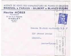 ENVELOPPE  A EN-TETE PLUMES ET CRAYONS MORIER CHOLET - 1921-1960: Période Moderne