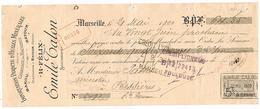 Lettre De Change Marseille  Emile Talon Huiles Russes A Batoum  1900 - Lettres De Change
