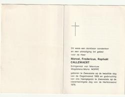Doodsprentje Marcel Fredericus Raphaël CALLEWAZERT Echtg. Magdalena Maria Noppe Zwevezele 1908 - 1978 - Images Religieuses