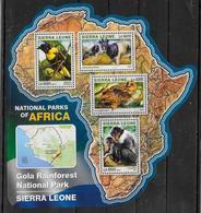 SIERRA LEONE  Feuillet N°  5989/92  * *  ( Cote 20e )  Parc Sierra Leone  Oiseaux Singe Antilope Chouette - Hiboux & Chouettes