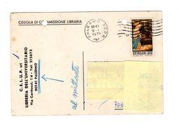 P0779 CEDOLA COMMISSIONE LIBRARIA CELUP LIBRERIA DELL' UNIVERSITARIO PALERMO NATALE L. 25 - 1971-80: Storia Postale
