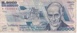 BILLETE DE MEXICO DE 20000 PESOS AÑO 1989 DE ANDRES QUINTANA (BANKNOTE) - Mexiko