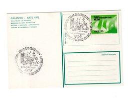 P0784 CARTOLINA POSTALE COMUNE DI CALASCIO L' AQUILA ARTE 1972 TIMBRO SERVIZIO POSTALE RASSEGNA ARTI FIGURATIVE - 1971-80: Marcophilie