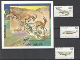 W001 2000 SOOMAALIYA FAUNA REPTILES CROCODILES 1BL+1SET MNH - Reptiles & Batraciens
