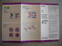 Avion / Airplane / UNITED AIRLINES / Boeing B737 / Safety Card / Consignes De Sécurité - Consignes De Sécurité
