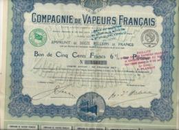 COMPAGNIE DE VAPEURS FRANCAIS - BON DE CINQ CENTS FRANCS 6 % -ANNEE 1919 - Navigation