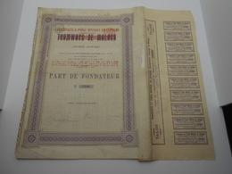 """Part Fondateur""""Transports Et Force Motrice En Espagne Anc Tramways De Malaga""""1898 Modifie En 1914 N°2108. - Chemin De Fer & Tramway"""