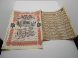 """Action De 100$ Or """"Barcelona Traction Light And Power Cy""""Bruxelles 1914 Railway Barcelone Espagne Share Of 100$ N°29933 - Chemin De Fer & Tramway"""