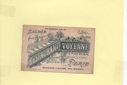 CARTE DE VISITE Salons Pour Noces Et Banquets Restaurant Place Voltaire - Cartes De Visite