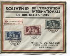 REF908/ TP 404/406 Surtaxe S/L.recommandée Souvenir Expo Internationale Bruxelles 1935 C.Vieux BXL 6/7/35 Expo > Ostende - Belgium