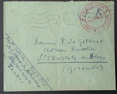 Enveloppe Franchise Militaire Cachet HOPITAL MIXTE DE TARBES SALLES MILITAIRES Vers Saint-Christoly-de-Blaye - Marcophilie (Lettres)