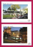 2 CPM.    Caen.  Tramway.    Tram De Jour...Tram De Nuit...  Viacités.   Postcard. - Caen