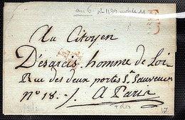Pli Avec Correspondance En Port Du. Daté De Méssidor An 6 (au Citoyen) Pour Paris - Marcophilie (Lettres)
