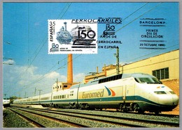 150 Años Ferrocarril En España - Tren De Velocidad Alta EUROMED. Barcelona 1998 - Trains