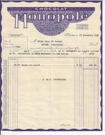 L'HOTEL DIEU DE BAYEUX  FACTURE Chocolat Monopole De NANTES 1936 - France