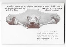 THIERS (63) Carte Publicitaire Illustrée Couteaux Coutellerie Bourgade Tarry LEANDRE - Thiers