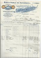 L'HOTEL DIEU DE BAYEUX  FACTURE Biscuiterie De Kergresil  PONTIVY 1932 - France