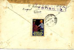 Valencia A Francia 1937 Viñeta CNT, Al Dorso De Carta Y Llegada. Censura Guerre D'Espagne Ver 2 Scan - Marcas De Censura Republicana