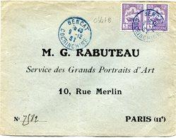 INDOCHINE LETTRE DEPART BENCAT 9-12-31 COCHINCHINE (OBL. BLEUE) POUR LA FRANCE - Covers & Documents