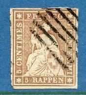 Suisse - YT N° 26 A - YT N° 26a - Oblitéré - 1854 à 1962 - 1843-1852 Kantonalmarken Und Bundesmarken