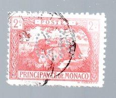 MONACO -- Timbre Perforé Perfin Luchung--  2 Francs Vermillon Rocher De Monaco --  C N  - 13 19  Indice 4 - Variétés