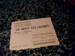 """Carte De Visite Publicitaire Centre E Vacances """" De  Mont Les Champs """" à Bohan Et Semois - Cartes De Visite"""