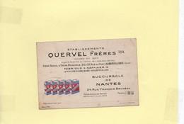 Carte De Visite Ets Quervel Nantes Huiles Et Graisses - Visitekaartjes