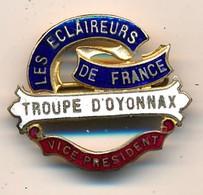 """J91 - Broche émaillée """"Les Éclaireurs De France"""" Troupe D'Oyonnax - Vice-Président - Scout - Scoutisme - Other"""