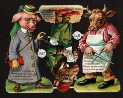 German Littauer & Boysen L & B N° 3972 SCRAP -  DECOUPIS  - DIE-CUT - Gaufré / Embossed - Animaux Humanisés - 3 Scans - Animals