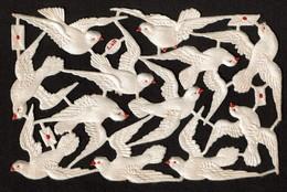 Littauer & Boysen - L & B - SCRAP -  DECOUPIS - DIE-CUT -gaufré / Embossed - Oiseaux Soie /Silk Birds - 2 Scans - Flowers