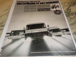 ANCIENNE PUBLICITE CAMION HANOMAG HENSCHEL  1972 - Trucks