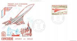 ENVELOPPE CONCORDE   AFARS ET ISSAS    PREMIER JOUR D ' EMISSION HISTORIQUE F.D.C.  1er VOL 1969 - Concorde