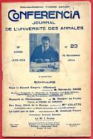CONFERENCIA  1924 N° 23 Du 15 Novembre Journal Université Annales * Offenbach - Ronsard - Mme Colette -  Charles Pagot - Ohne Zuordnung