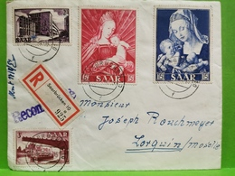 Lettre Oblitéré Saarbrucken  1954 Envoyé à Lorquin Moselle Recommandé - Storia Postale