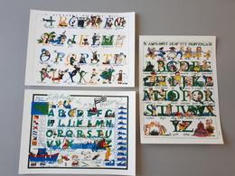 3 Abécédaires : Alphabet Du P'tit Militaire, Breton Et Provençal  & - Estampes & Gravures