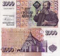 """ICELAND 1000 KRONUR 2001 P60, UNC """" Bishop Brynjólfur Sveinsson"""" - Island"""