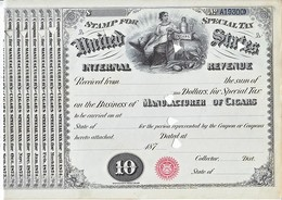 U.S.  TOBACCO  REGISTRY  1871  (o)  CIGARS - Revenues