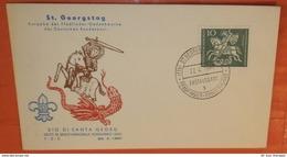 BUND BRD 346 Hl. Georg Drachentöter - Pfadfinder Schutzpatron In (17 B) St. Georgen --- FDC 1961 (2 Foto)(72159) - [7] République Fédérale