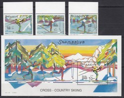 V929 2001 SOOMAALIYA SPORT ART COUNTRY SKIING !!! MICHEL 40 EURO 1BL+1SET MNH - Sci